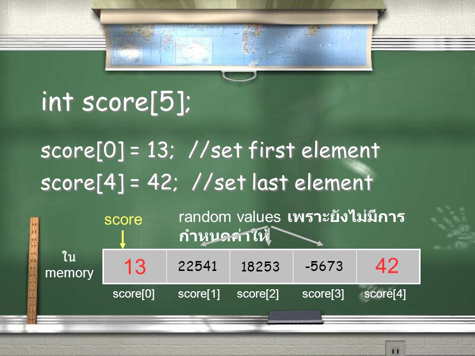 int score[5]; score[0] = 13; //set first element